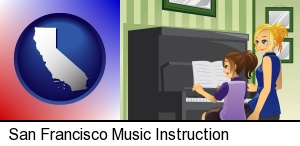 a piano teacher and a student in San Francisco, CA